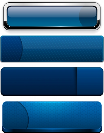 Set of blank dark-blue buttons for website or app  Vector eps10   Vector