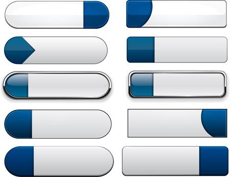 whiteblue: Set of blank white-blue buttons for website or app  Vector eps10