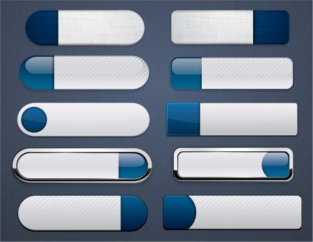 buttons vector: Set of blank dark-blue buttons for website or app  Vector eps10