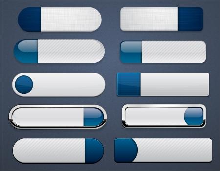 Set of blank bleu foncé boutons pour site web ou une application Vecteur eps10
