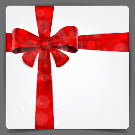 christmas gifts: Blank paper background with red bow   Illustration