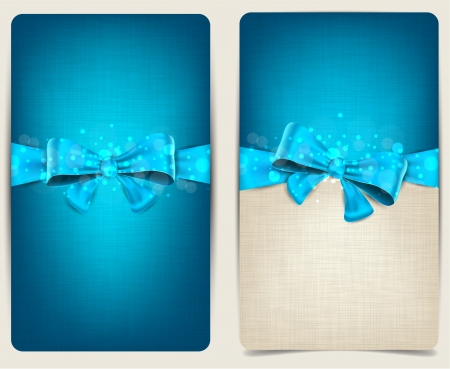 Blank linen backgrounds with blue bow  Vector