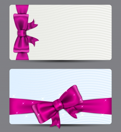 Blank gift backgrounds with fuchsia bow   Vector