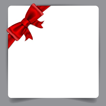 Blank paper background with red bow  Vector