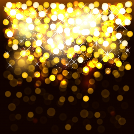 defocused: Glowing golden square background.