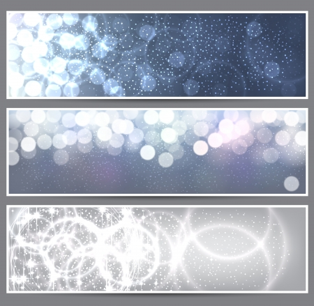 Glowing  christmas banners    Vector