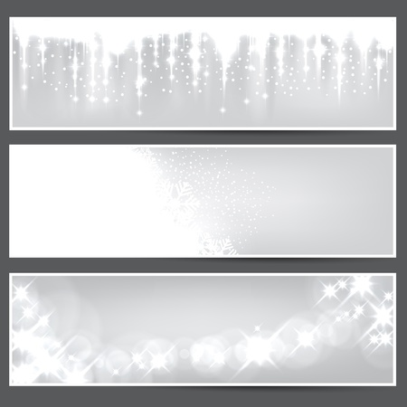 Glowing silver christmas banners    Vector