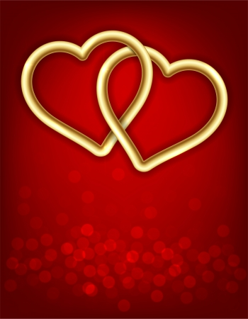 Vector Illustration of background with two gold linked hearts  Vector