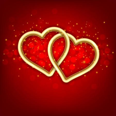 linked: Vector Illustration of background with two gold linked hearts