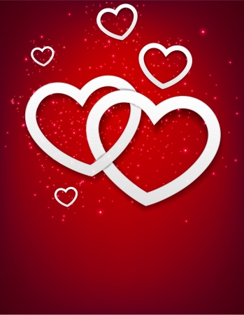 Vector Illustration of red valentine background with two linked hearts Stock Vector - 16788388
