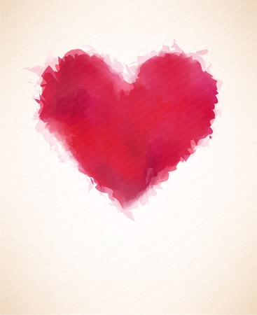 Vector Illustration of red watercolor heart over paper sheet    Vector