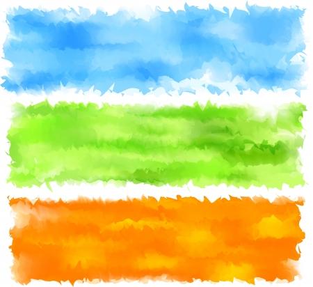 Illustrazioni vettoriali di set di tre banner intestazioni Primavera acquerello