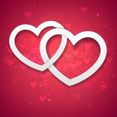 Vector Illustration of red valentine background with two linked hearts   Stock Vector - 16788379