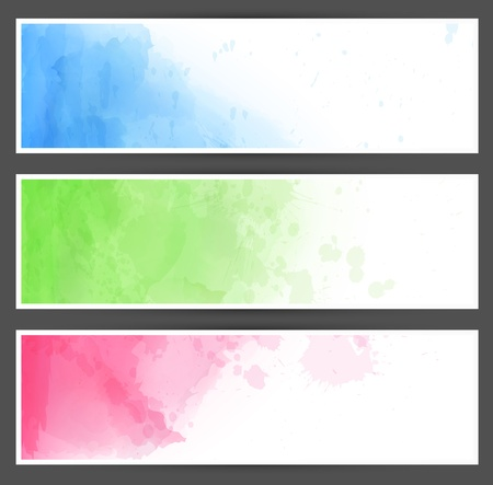 pigment: Vector Illustration of set of three watercolor banners. Eps10. Illustration