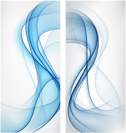 abstract smoke: Vector conjunto de banderas de humo azul abstracto Eps10