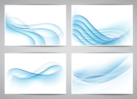 the air: Vector set of abstract smoke blue banners  Eps10