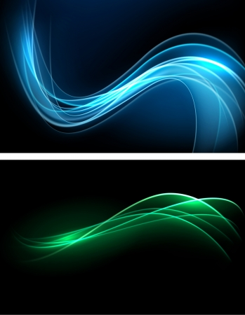 Vector abstract dark banners  Blurry smooth glowing waves  Eps10 Stock Vector - 16931122