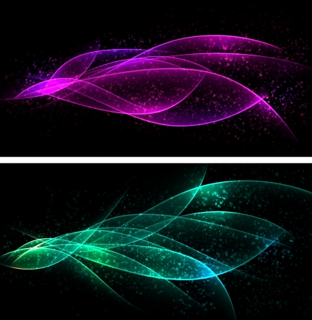 Vector abstract dark banners  Blurry smooth glowing waves  Eps10 Stock Vector - 16931117