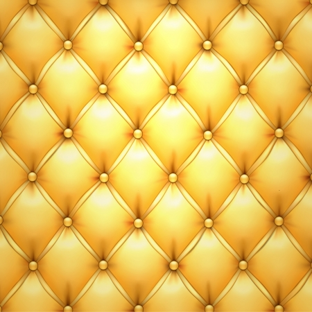 upholstered: Vector illustration of golden realistic upholstery leather pattern background
