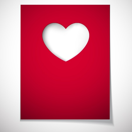 paper cut out: Vector illustration of love greeting card  Notched out heart