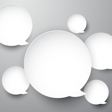 Vector abstract background composed of white paper round speech bubbles  Eps10   Vector