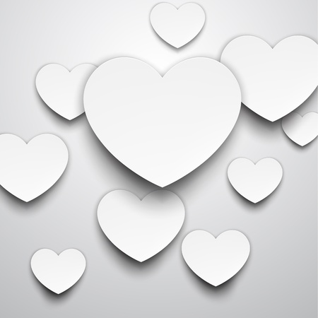 Vector abstract background composed of white paper hearts  Eps10   Vector