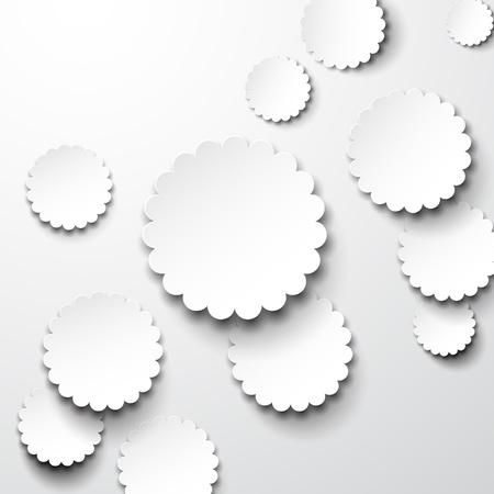 forme: illustration de papier blanc notes de fleurs rondes