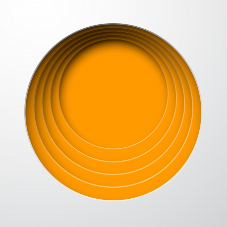 paper cut out: illustration of orange paper notched out round bubbles   Illustration