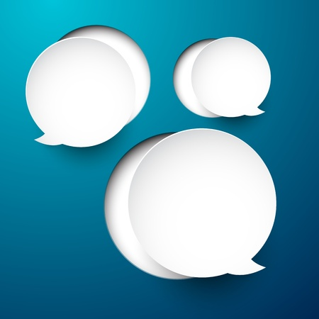 abstract illustration of white paper round speech bubbles on blue background   Vector