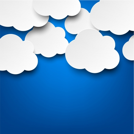 vector abstract: Vector abstract background composed of white paper clouds over blue  Eps10