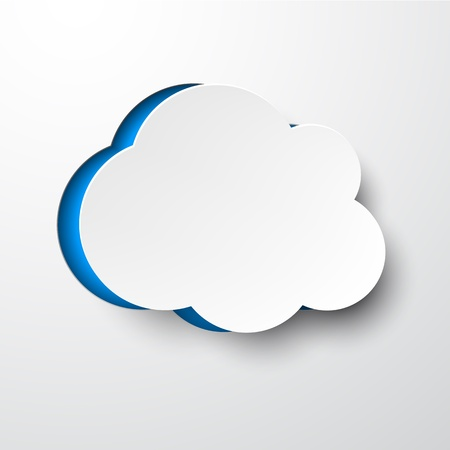 Vector illustration of white paper notched out cloud  Eps10   Vector