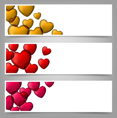 Vector illustration of love banners. Contains of colorful bubble hearts. eps 10. Vector