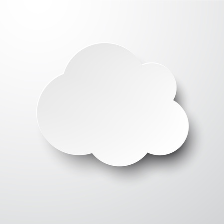 grey background: Vector illustration of white paper cloud bubble. Eps10.