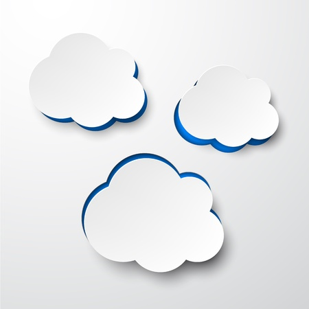 Vector illustration of white paper notched out clouds. Eps10.  Vector