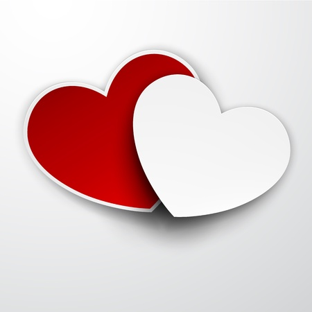 Vector illustration of realistic red and white paper hearts. Eps10. Vector