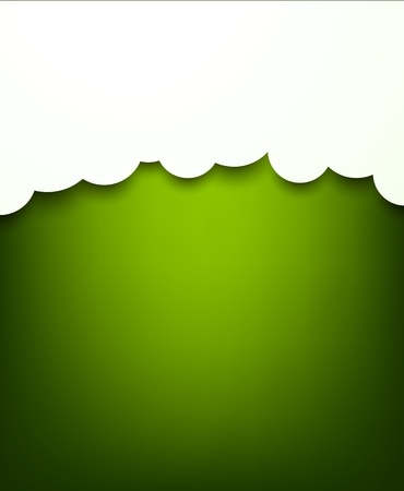 composed: Vector abstract background composed of white paper clouds over green. Eps10.