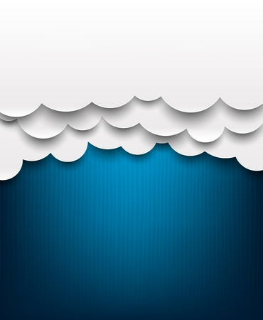 Vector abstract background composed of white paper clouds over blue. Eps10.   Vector