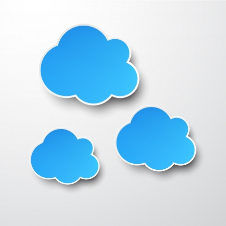 Vector abstract background composed of blue paper clouds over white. Stock Vector - 17314102