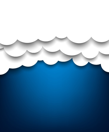 Vector abstract background composed of white paper clouds over blue.  Vector
