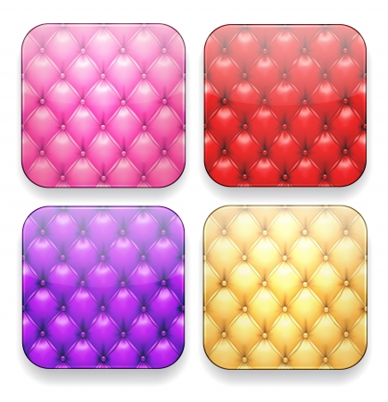 Vector illustration of upholstered blank high-detailed apps icon set.  Vector