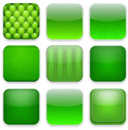3d button: Vector illustration of green high-detailed apps icon set.  Illustration