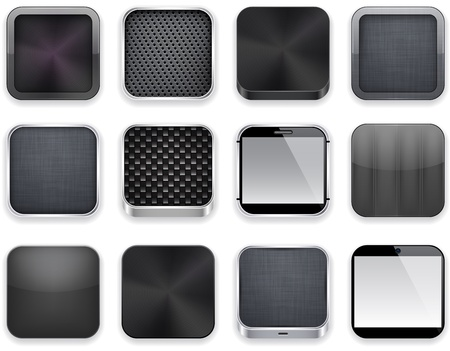Vector illustration of black high-detailed apps icon set.  Vector