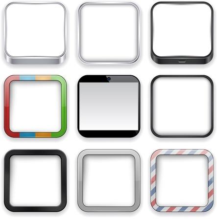 cuadrados: Ilustraci�n vectorial de alta detallada en blanco icono de aplicaciones configurado. Vectores