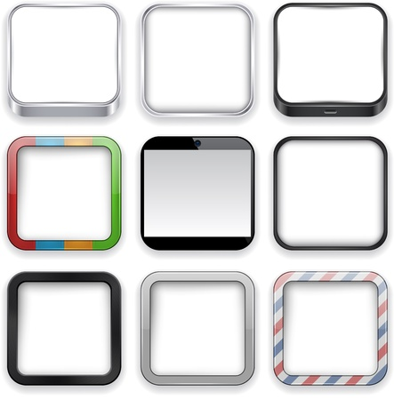 rounded: Vector illustration of blank high-detailed apps icon set.