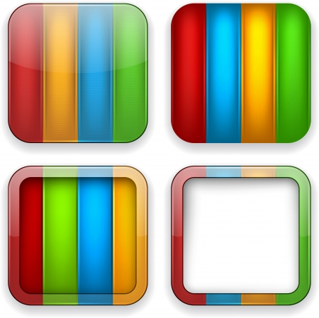 Vector illustration of color blank high-detailed apps icon set.  Vector
