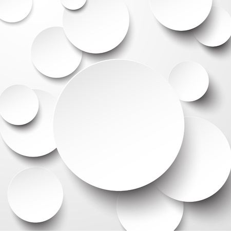 3d shape: Vector illustration of white paper round notes.