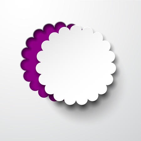 notched: Vector illustration of white paper notched out round flower.