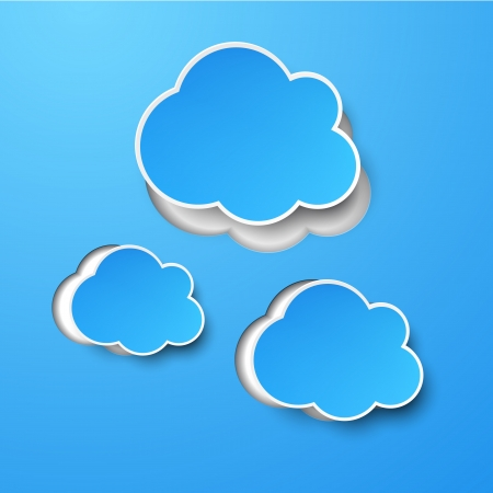 abstract background composed of blue paper clouds over blue.  Vector