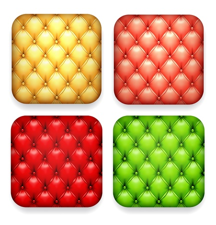 upholstered: illustration of upholstered blank high-detailed apps icon set.  Illustration