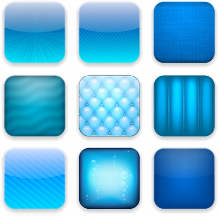 illustration of blue high-detailed apps icon set. Vector